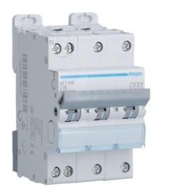 HAGER Disjoncteur 3 Pôles+ Neutre 6-10kA Courbe C 16A 3 Modules NFT816 HAGER NFT816