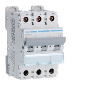 HAGER Disjoncteur 3 Pôles 6-10kA Courbe D 3A 3 Modules NGN303 HAGER NGN303
