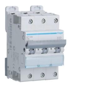 HAGER Disjoncteur 3 Pôles 6-10kA Courbe C 10A 3 Modules NFT310 HAGER NFT310