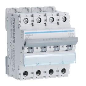 HAGER Disjoncteur 4 Pôles 6-10kA Courbe C 40A 4 Modules NFN440 HAGER NFN440