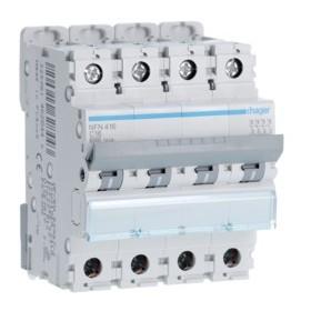 HAGER Disjoncteur 4 Pôles 6-10kA Courbe C 16A 4 Modules NFN416 HAGER NFN416