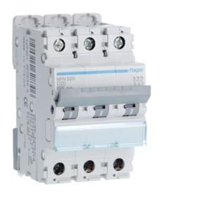 HAGER Disjoncteur 3 Pôles 6-10kA Courbe C 20A 3 Modules NFN320 HAGER NFN320