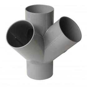 NICOLL Culotte double d'équerre Femelle femelle 45° - AT144 - PVC gris - diamètre 100 mm NICOLL AT144