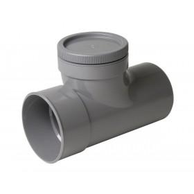NICOLL Té de visite PVC avec bouchon MF gris - diamètre 110 mm NICOLL VV8